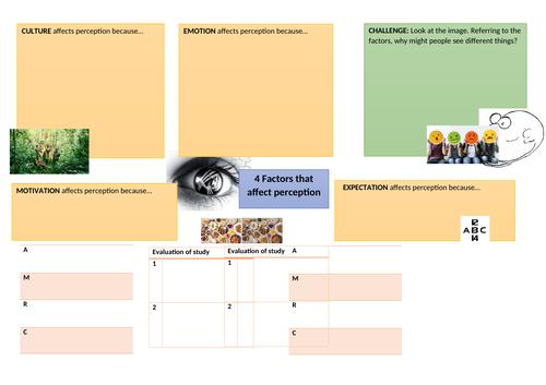 GCSE Psychology- Factors affecting perception A3 sheet