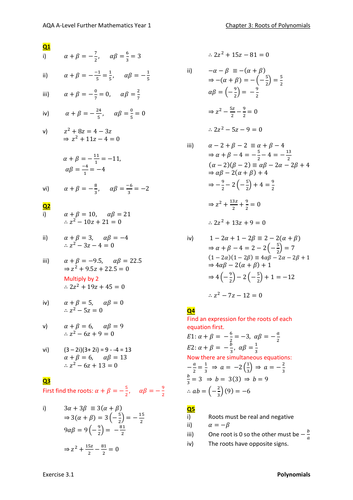 Roots of Polynomials Worked Solutions (New A-level)