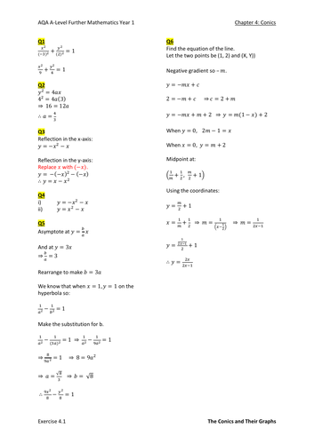 Conics Worked Solutions (New A-level)