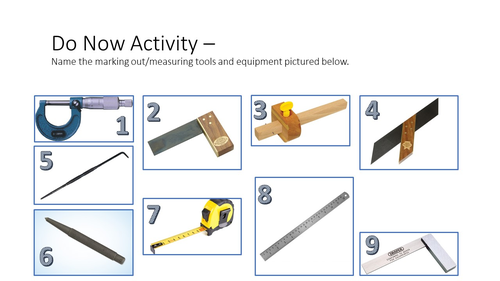 Marking out and Measuring tools starter activity