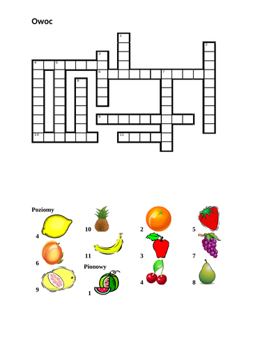 Owoc (Fruit in Polish) Crossword