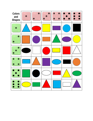 Colors and Shapes Dice Game