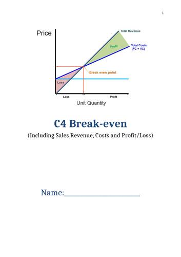 BTEC Tech Award Enterprise (Business) C3 Exam - Break-even theory booklet