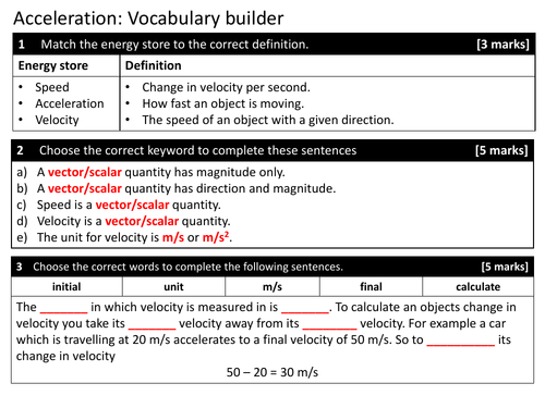 Acceleration and its calculations, KS4, Physics, New GCSE Specification