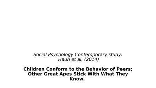 Haun (2014)- Edexcel IAL Psychology- Contemporary Study for Social Psychology
