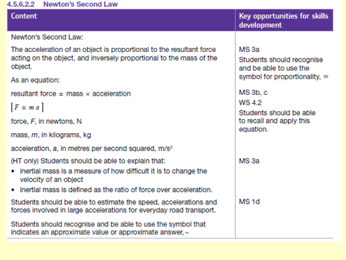 Newtons 2nd law and its calculations, KS4, Physics, New GCSE Specification