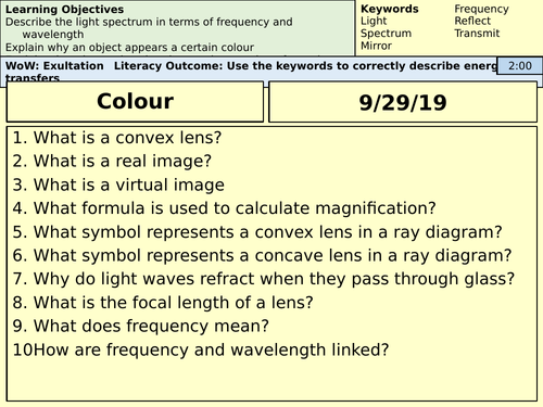 AQA GCSE Physics - Colour - Whole Lesson