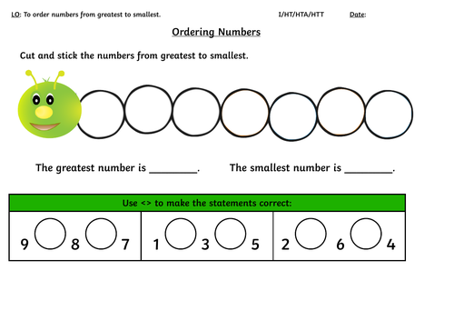 Year 1 Ordering Numbers Greatest to Smallest Cut and Stick Activity