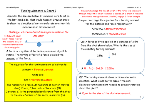 Moments, levers and gears 1 AQA Physics solutions