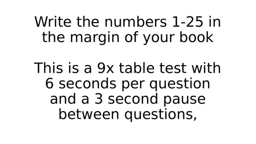 9x Times Table Test Timed PowerPoints