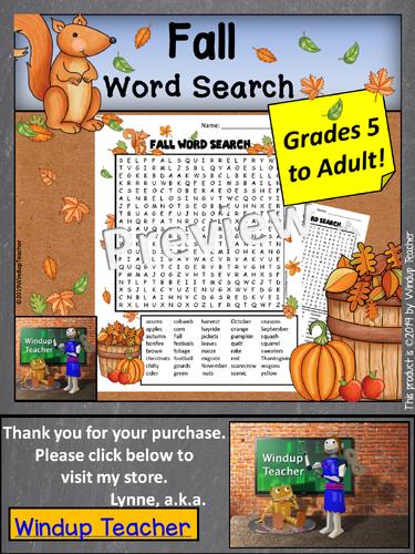 Fall Word Search *Hard*