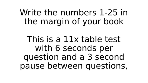 11x Times Table Test Timed PowerPoint