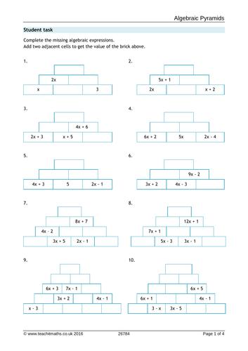 Algebra Pyramids Task