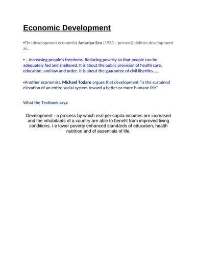 Economics: Measures of Development  (NEW SPEC) - Edexcel