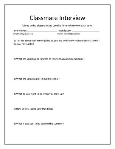 Classmate Interview - Middle School Edition