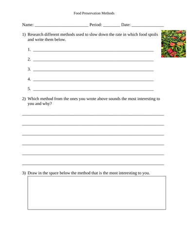 Food Preservation Methods Worksheet