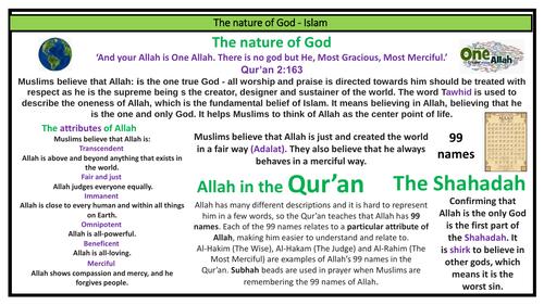 AQA Islam nature of God knowledge organiser