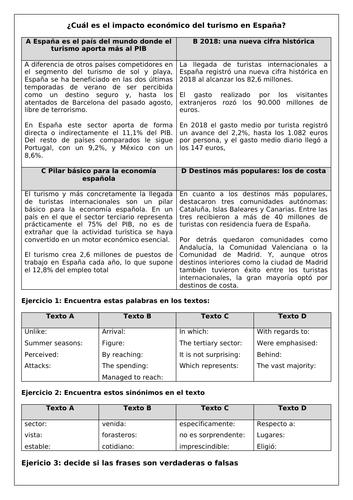 Spanish A Level (Edexcel) el impacto económico del turismo en España: economic impact of tourism