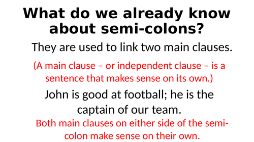Year 6 SPAG - Semi-colons for lists