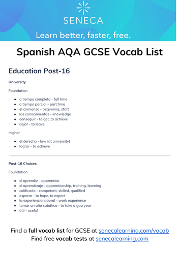 Full Vocab List for Spanish GCSE