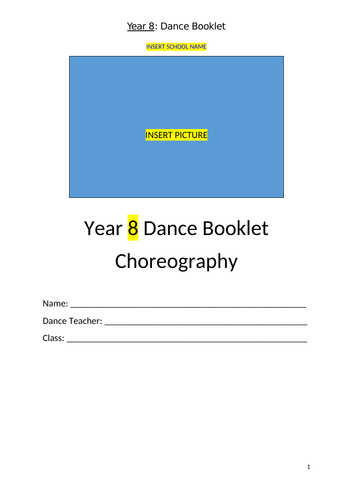 Choreography Booklet Year 7 & 8