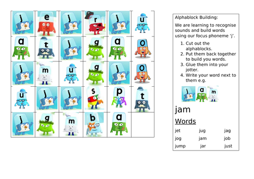 Alphablocks: Word Build Activity 'j'