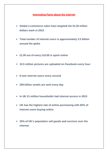 Interesting facts about the internet