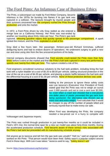 Business Ethics - Ford Pinto Case Study Lesson
