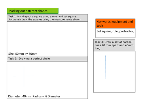 Basic marking out and measuring worksheet