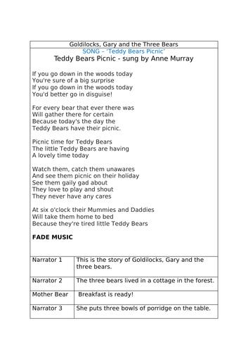 Gary, Goldilocks and The Three Bears