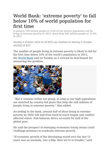 Economics: Absolute and Relative Poverty  (NEW SPEC) - Edexcel
