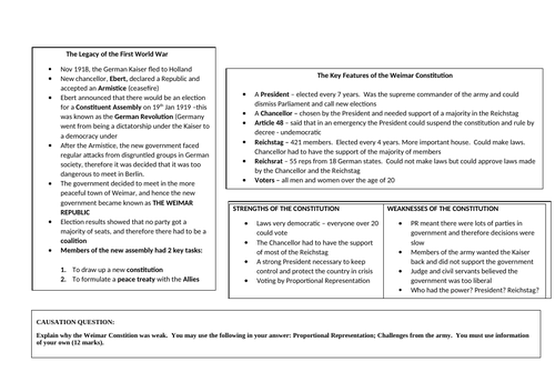 GCSE History Weimar and Nazi Germany knowledge mats including extensive exam practice questions
