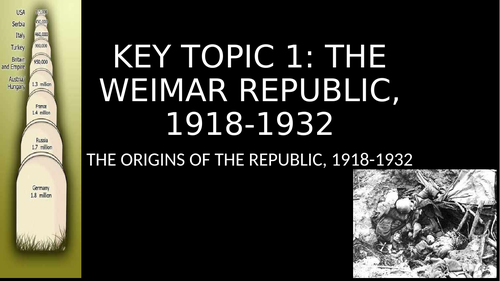 Key Topic 1: Weimar Repulic 1918-1932 (10 lessons and 4 sheets)