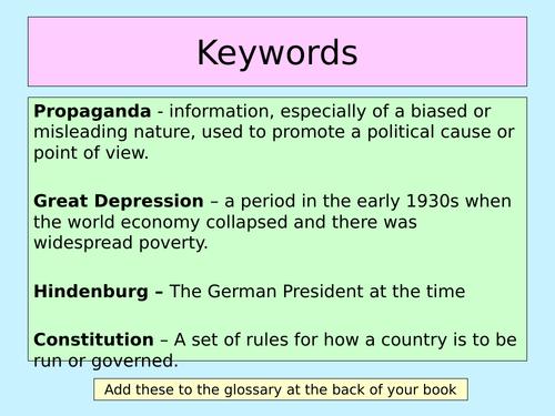 Hitler's Rise to Power  (KS3 History)