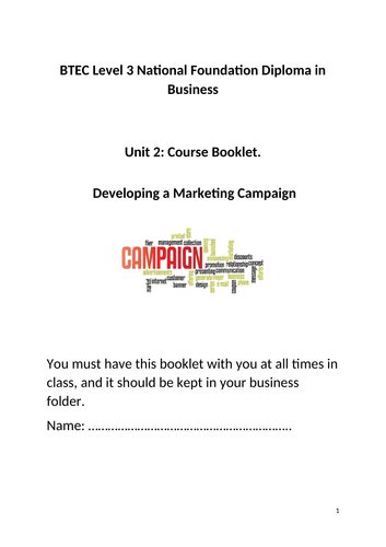 Unit 2 - Developing a marketing campaign (Course Booklet)