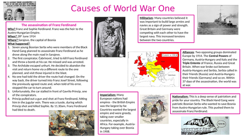 Causes of WW1 Knowledge Organiser