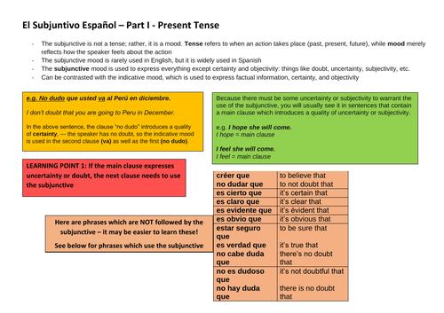 El Subjuntivo Español – Part I - Present Tense