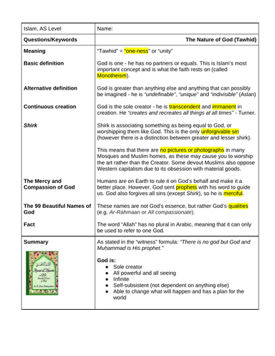 A Level religious studies Islam - Tawhid (the nature of God)