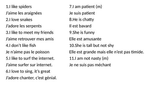 Vocab competition / Sentence Stealer / Delayed Translation Dynamo 1 Module 1 Likes/Dislikes