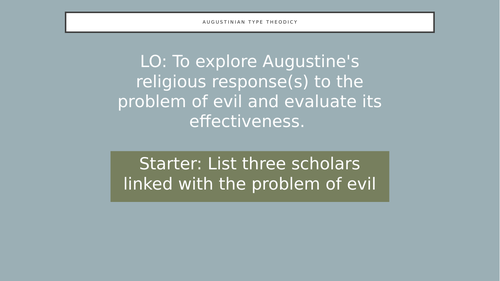 Eduqas  A level RS Augustine's Theodicy