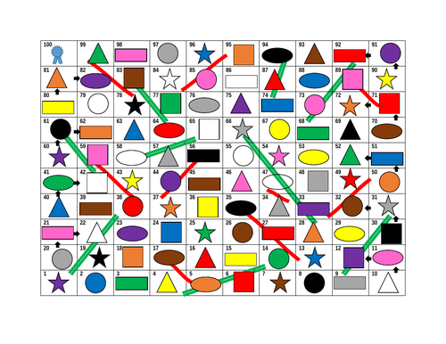 Colors and Shapes Slides and Ladders Game