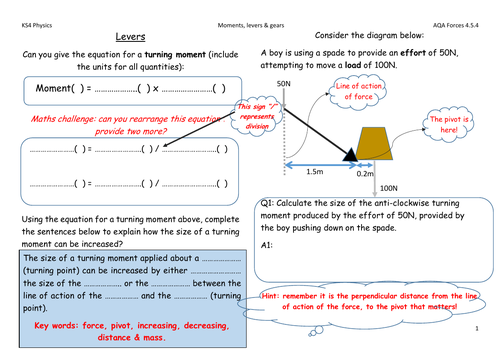 AQA Physics Forces - moments, levers & gears