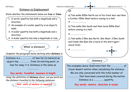 AQA Physics Forces - distance vs displacement