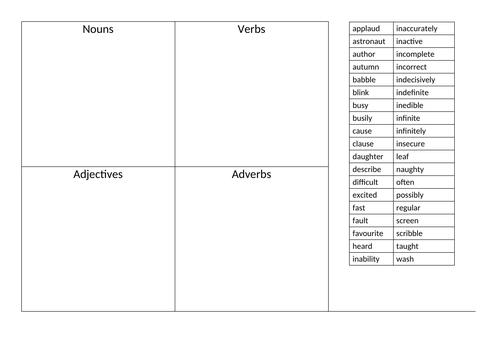 Sort words into verb, noun, adjective, adverb