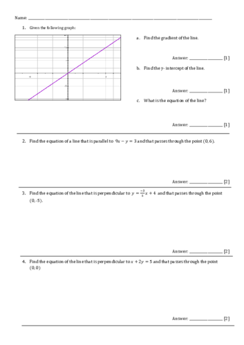Straight line graphs. GCSE revision worksheet+ Answers.
