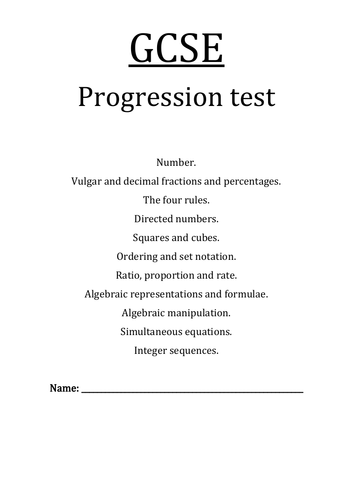 GCSE PROGRESSION TEST+Answers Step by Step. Number, Fractions, Percentages, Sequences, Ratio, Set...