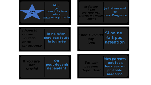 higher vocabulary on the use of social networks/dominoes card game/KS4
