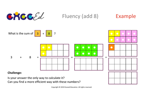 Fluency: Bridging (add 8 with Numicon)