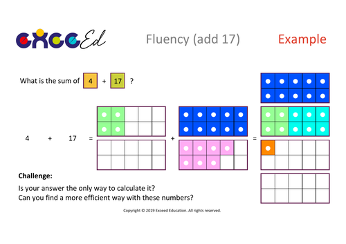 Fluency: Bridging (add 17 with Numicon)