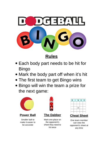 Dodgeball Bingo